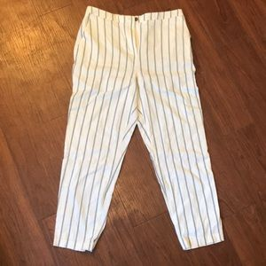 ASOS Striped Linen Slim Cigarette Pants